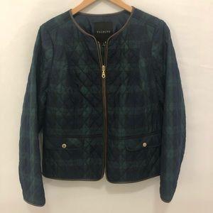 NWT Talbots Navy Green Plaid Puffer Zip Jacket sz8